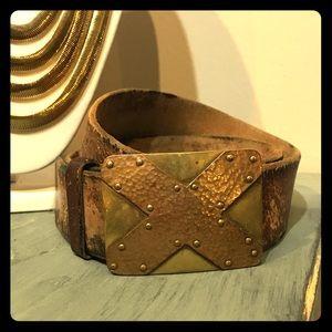 Vintage Accessories - 🌇NY SALE🌇 VTG 70's Noah's Art Brass Buckle Belt